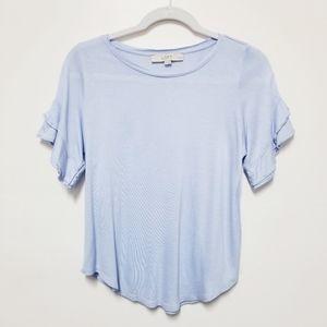 LOFT Ruffled Sleeves Women's Shirt Petite Small